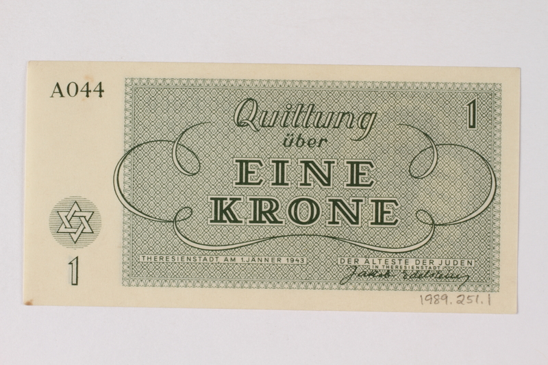 1989.251.1 back Theresienstadt ghetto-labor camp scrip, 1 krone note