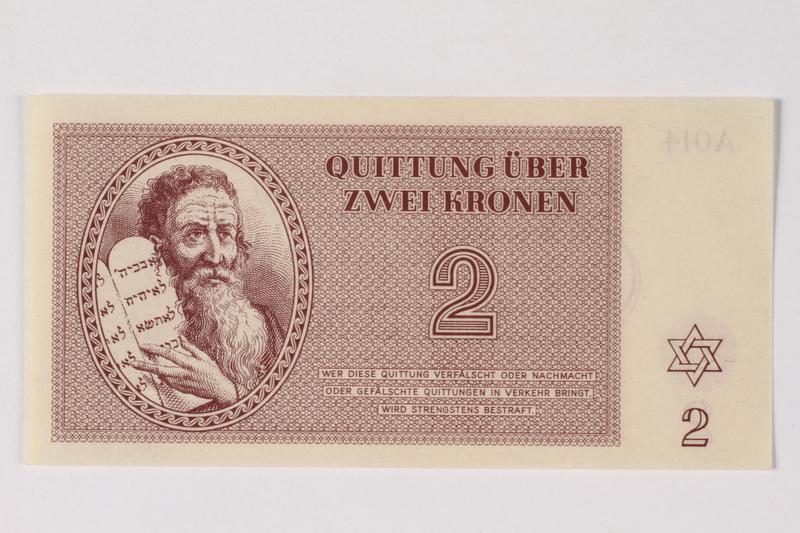 1989.251.2 front Theresienstadt ghetto-labor camp scrip, 2 kronen note