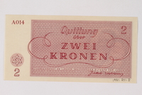 1989.251.2 back Theresienstadt ghetto-labor camp scrip, 2 kronen note  Click to enlarge
