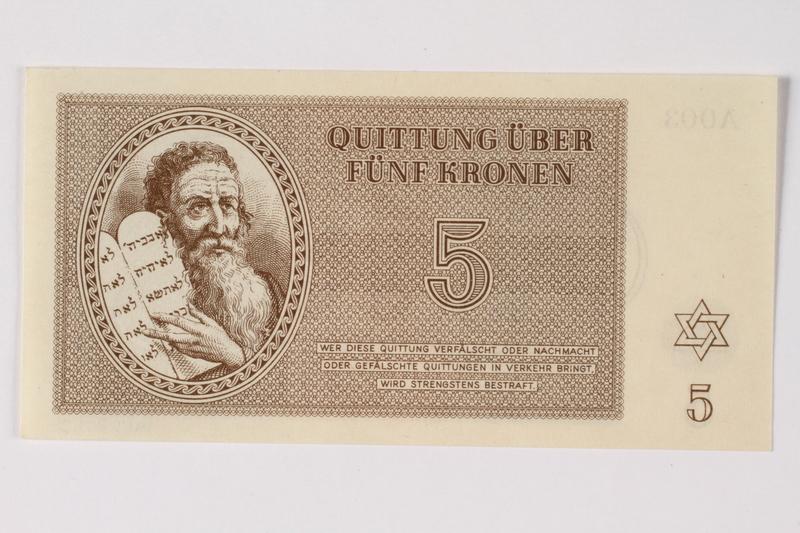 1989.251.3 front Theresienstadt ghetto-labor camp scrip, 5 kronen note