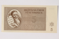 1989.251.3 front Theresienstadt ghetto-labor camp scrip, 5 kronen note  Click to enlarge