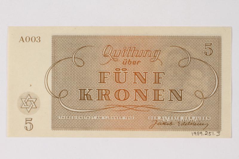 1989.251.3 back Theresienstadt ghetto-labor camp scrip, 5 kronen note