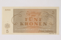 1989.251.3 back Theresienstadt ghetto-labor camp scrip, 5 kronen note  Click to enlarge