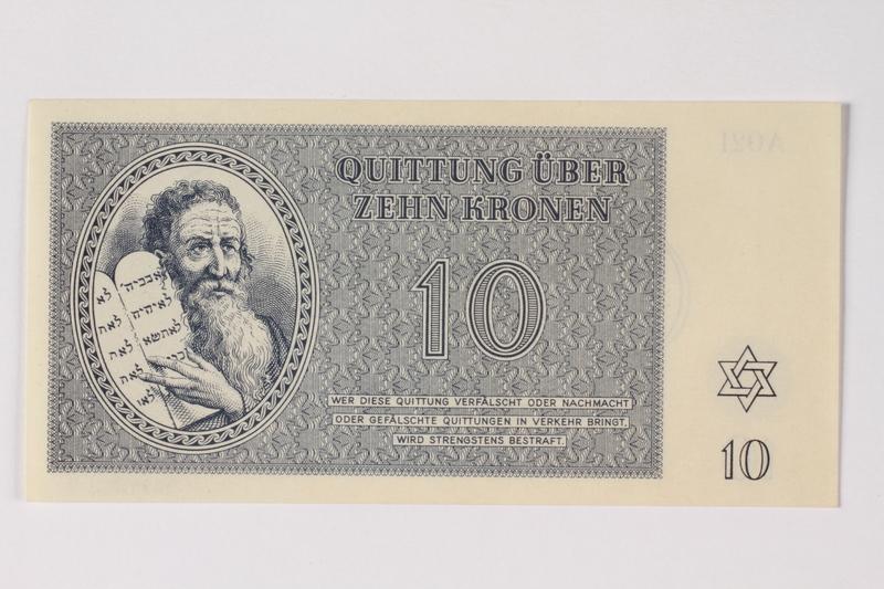 1989.251.4 front Theresienstadt ghetto-labor camp scrip, 10 kronen note