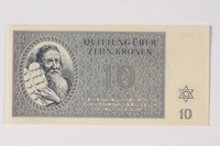 1989.251.4 front Theresienstadt ghetto-labor camp scrip, 10 kronen note  Click to enlarge