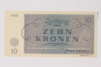 1989.251.4 back Theresienstadt ghetto-labor camp scrip, 10 kronen note  Click to enlarge