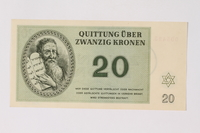 1989.251.5 front Theresienstadt ghetto-labor camp scrip, 20 kronen note  Click to enlarge