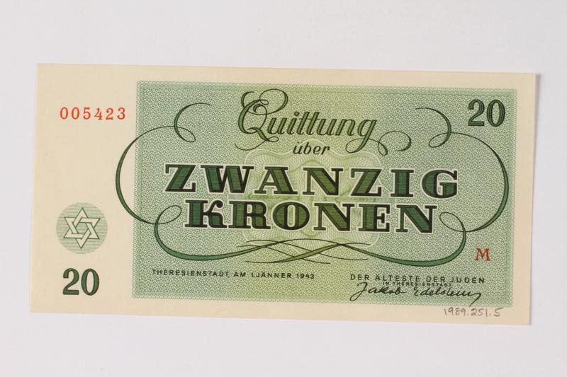 1989.251.5 back Theresienstadt ghetto-labor camp scrip, 20 kronen note