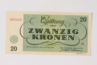 1989.251.5 back Theresienstadt ghetto-labor camp scrip, 20 kronen note  Click to enlarge