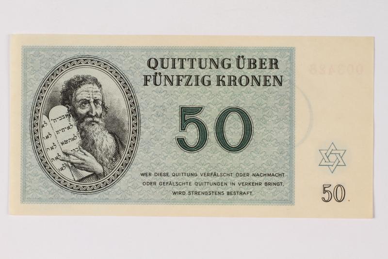 1989.251.6 front Theresienstadt ghetto-labor camp scrip, 50 kronen note