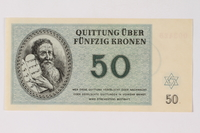 1989.251.6 front Theresienstadt ghetto-labor camp scrip, 50 kronen note  Click to enlarge