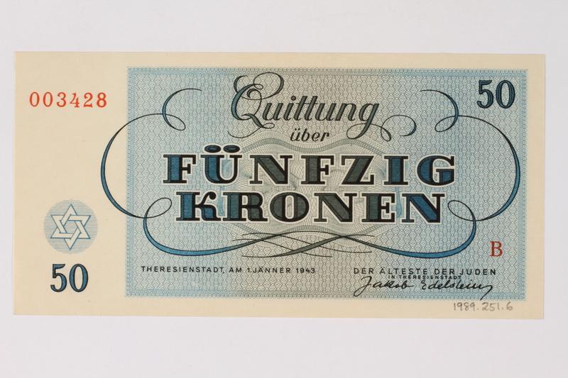 1989.251.6 back Theresienstadt ghetto-labor camp scrip, 50 kronen note