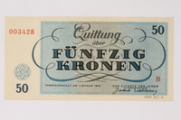 1989.251.6 back Theresienstadt ghetto-labor camp scrip, 50 kronen note  Click to enlarge