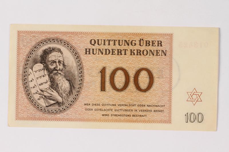 1989.251.7 front Theresienstadt ghetto-labor camp scrip, 100 kronen note