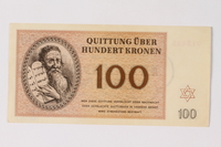 1989.251.7 front Theresienstadt ghetto-labor camp scrip, 100 kronen note  Click to enlarge