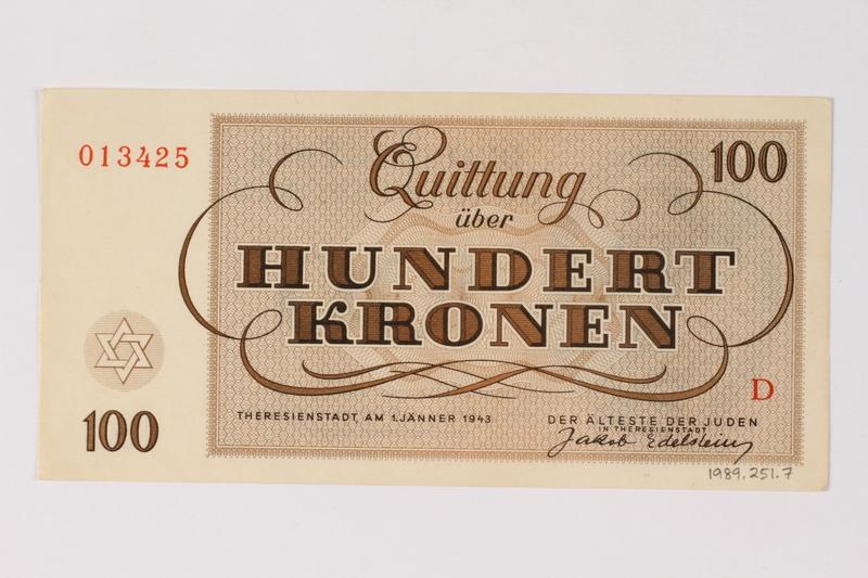 1989.251.7 back Theresienstadt ghetto-labor camp scrip, 100 kronen note