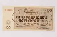 1989.251.7 back Theresienstadt ghetto-labor camp scrip, 100 kronen note  Click to enlarge