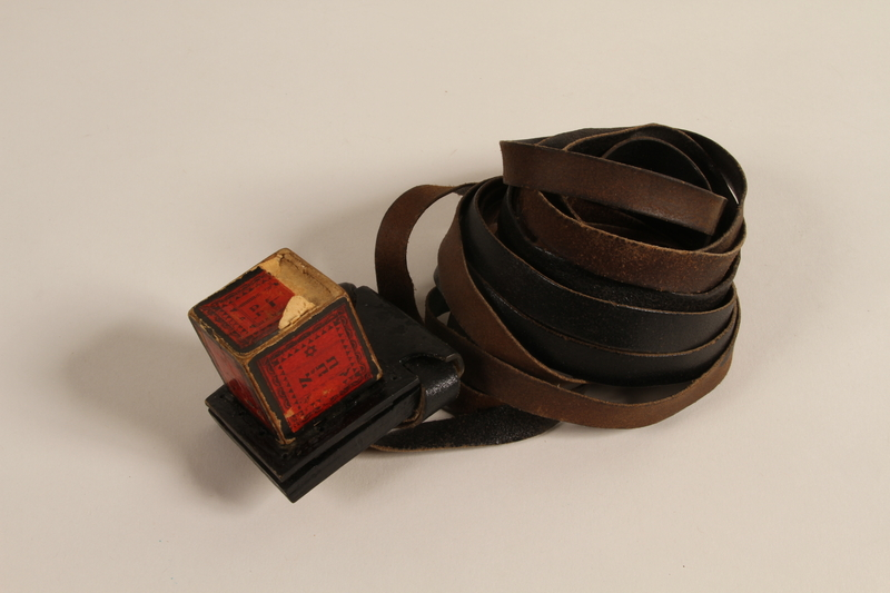 1988.118.1 d-e front Tefillin set found on the body of a concentration camp inmate by a Jewish American soldier