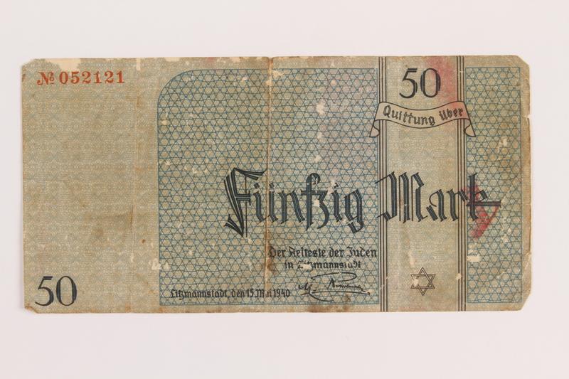 1989.294.1 front Łódź (Litzmannstadt) ghetto scrip, 50 mark note