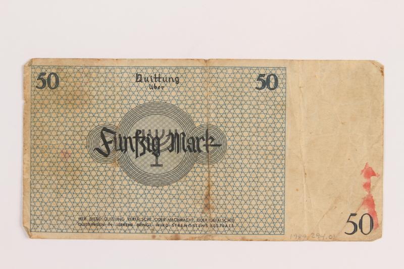 1989.294.1 back Łódź (Litzmannstadt) ghetto scrip, 50 mark note