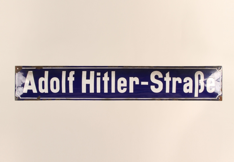 1986.17.1 front Adolf Hitler-Strasse street sign acquired by a US soldier