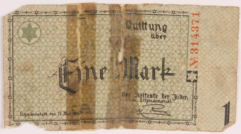 1986.33.1 front Łódź (Litzmannstadt) ghetto scrip, 1 mark note, found postwar