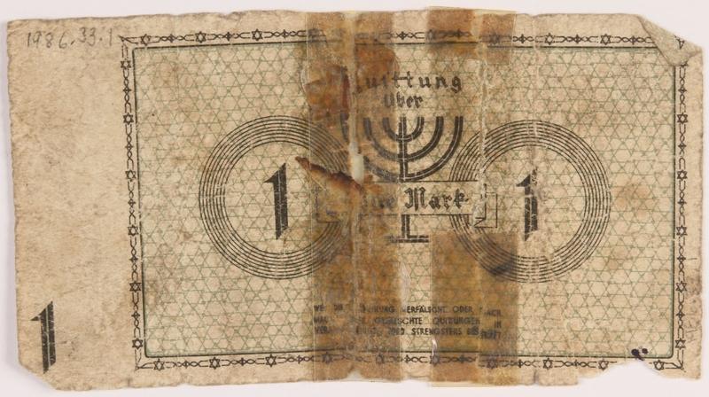 1986.33.1 back Łódź (Litzmannstadt) ghetto scrip, 1 mark note, found postwar