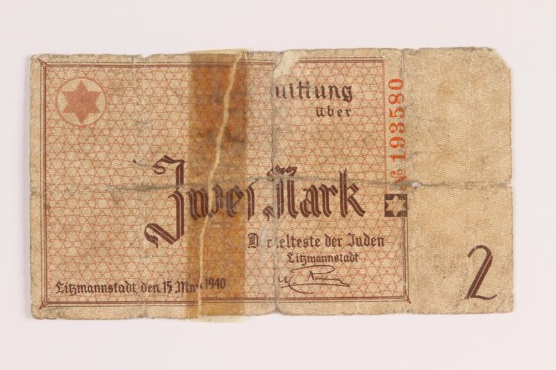 1986.33.2 front Łódź (Litzmannstadt) ghetto scrip, 2 mark note, found postwar