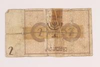 1986.33.2 back Łódź (Litzmannstadt) ghetto scrip, 2 mark note, found postwar  Click to enlarge