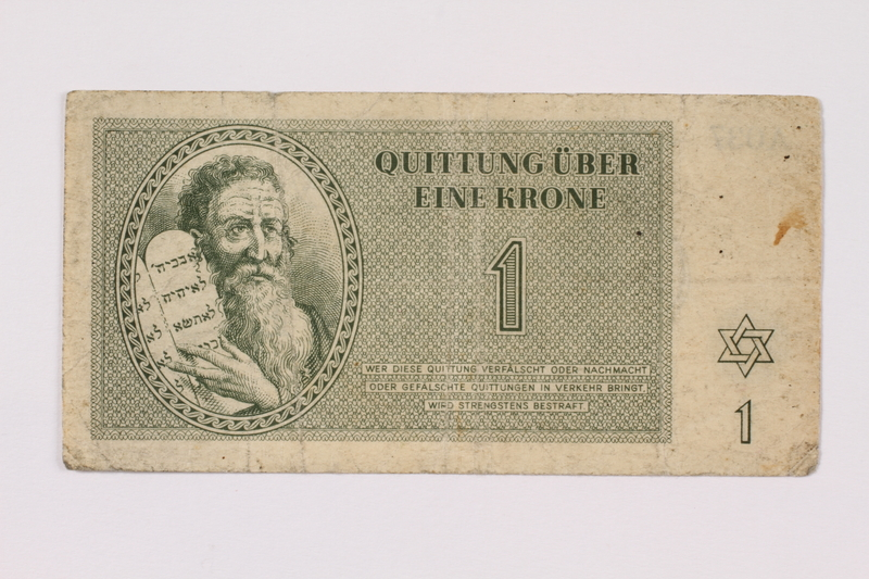 1990.103.1 front Theresienstadt ghetto-labor camp scrip, 1 krone note
