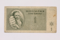 1990.103.1 front Theresienstadt ghetto-labor camp scrip, 1 krone note  Click to enlarge