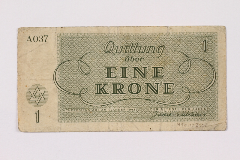 1990.103.1 back Theresienstadt ghetto-labor camp scrip, 1 krone note