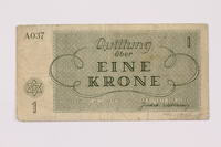 1990.103.1 back Theresienstadt ghetto-labor camp scrip, 1 krone note  Click to enlarge