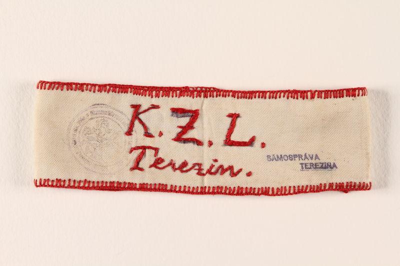 1990.11.2 front Armband identifying Jewish prisoner from Terezin