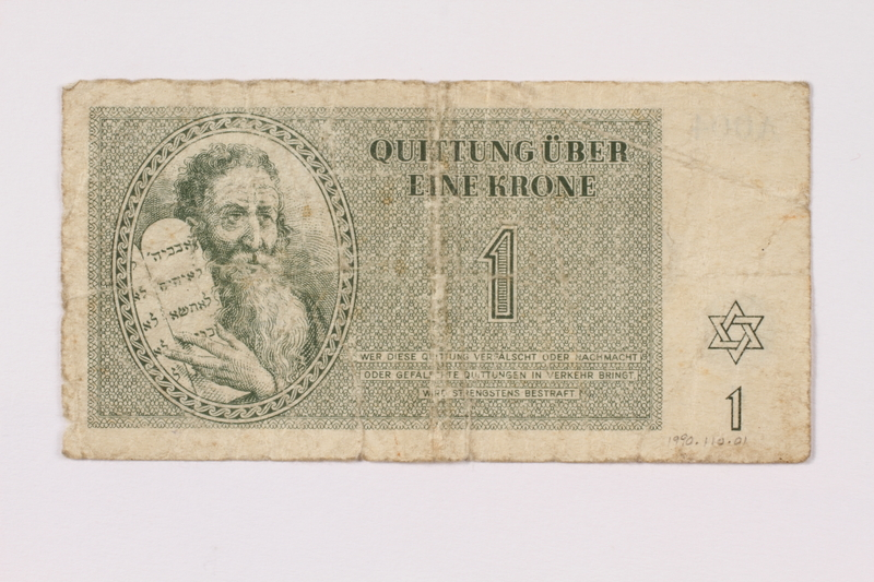 1990.110.1 front Theresienstadt ghetto-labor camp scrip, 1 krone note
