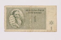 1990.110.1 front Theresienstadt ghetto-labor camp scrip, 1 krone note  Click to enlarge