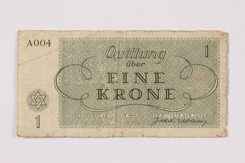 1990.110.1 back Theresienstadt ghetto-labor camp scrip, 1 krone note
