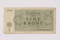 1990.110.1 back Theresienstadt ghetto-labor camp scrip, 1 krone note  Click to enlarge