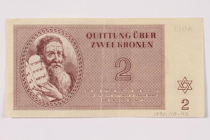 1990.110.2 front Theresienstadt ghetto-labor camp scrip, 2 kronen note