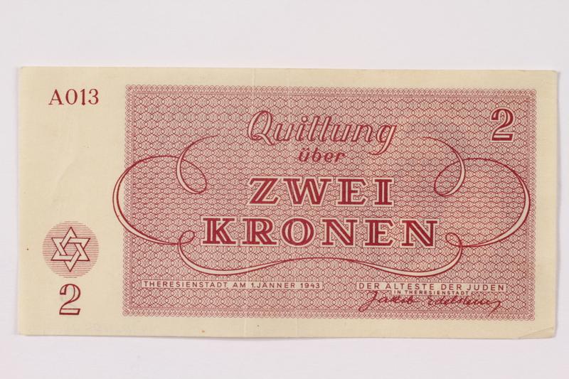 1990.110.2 back Theresienstadt ghetto-labor camp scrip, 2 kronen note