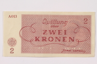 1990.110.2 back Theresienstadt ghetto-labor camp scrip, 2 kronen note  Click to enlarge