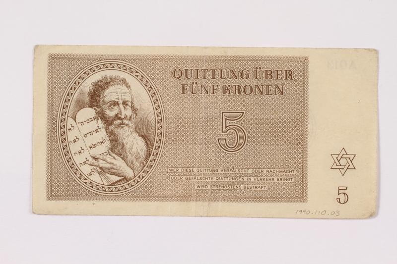 1990.110.3 front Theresienstadt ghetto-labor camp scrip, 5 kronen note