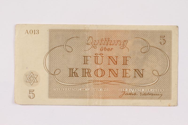 1990.110.3 back Theresienstadt ghetto-labor camp scrip, 5 kronen note