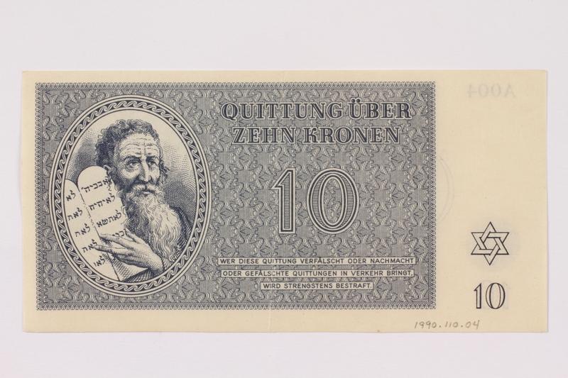 1990.110.4 front Theresienstadt ghetto-labor camp scrip, 10 kronen note