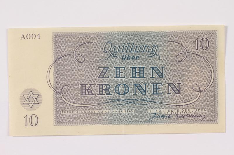 1990.110.4 back Theresienstadt ghetto-labor camp scrip, 10 kronen note