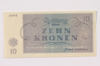 1990.110.4 back Theresienstadt ghetto-labor camp scrip, 10 kronen note  Click to enlarge