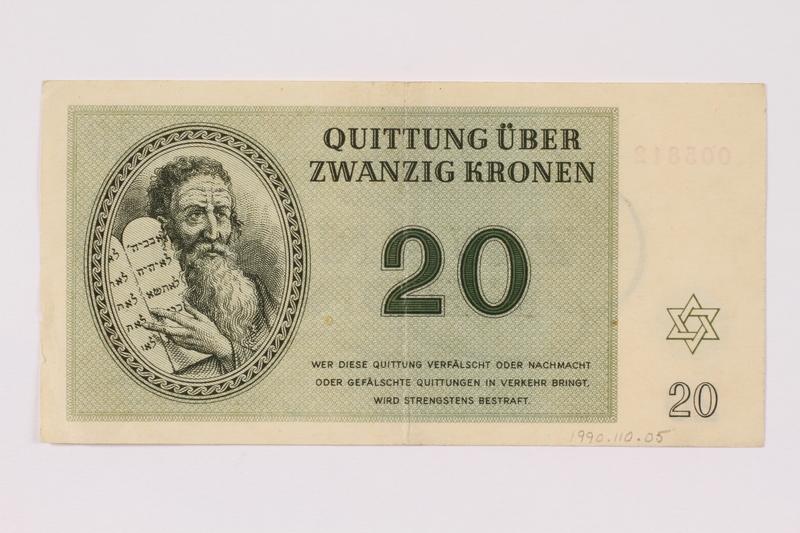 1990.110.5 front Theresienstadt ghetto-labor camp scrip, 20 kronen note