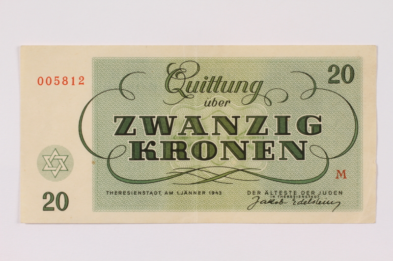 1990.110.5 back Theresienstadt ghetto-labor camp scrip, 20 kronen note