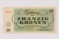 1990.110.5 back Theresienstadt ghetto-labor camp scrip, 20 kronen note  Click to enlarge