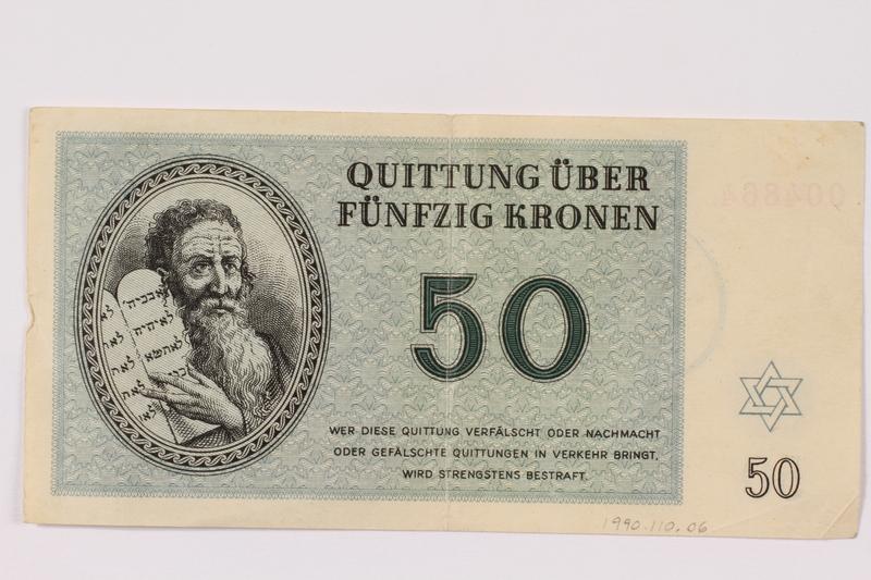 1990.110.6 front Theresienstadt ghetto-labor camp scrip, 50 kronen note